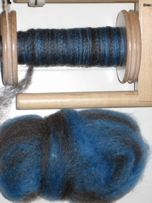 blue/brown wool-silk blend