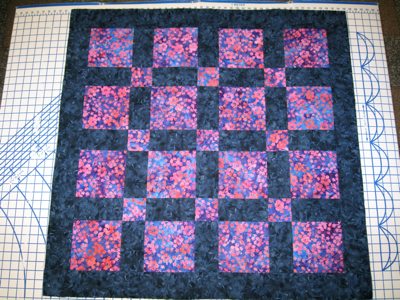 blue and purple quilt
