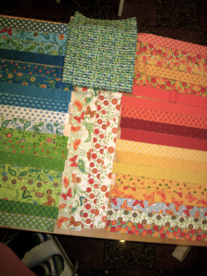 strips of precut quilting fabric in different print designs