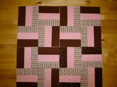 pink and brown rail fence quilt blocks