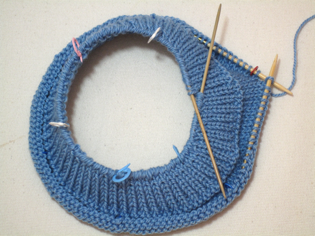 hat hem with picked-up stitches, ready to join